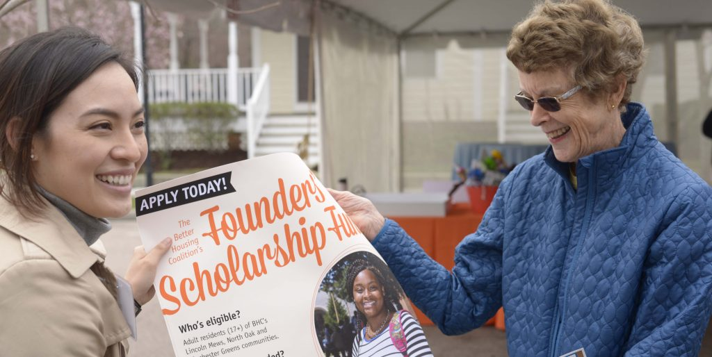 Image: Carter McDowell with Scholarship Poster